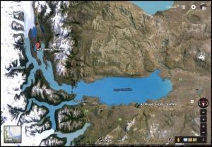 Satelital ubicación Estancia Cristina en relación a El Calafete