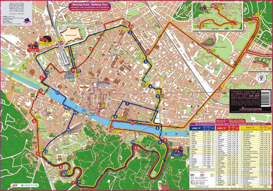 Mapa Turistico De Florencia.Autobus Turistico Florencia Rutas Viajar Con Descuentos